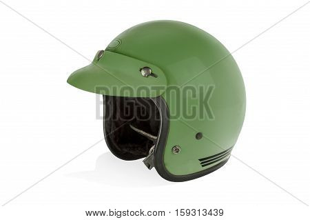 Motorbike helmet isolated on a white background.