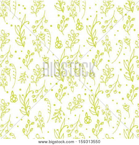 Herbal seamless pattern. Herbs and wild flowers print. Collorful splashes hand sketched floral collection. Lovely flowers and leaves branches vector illustration.