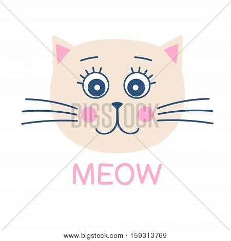 Cute cat print. Meow. Vector card with hand drawn cat face. Illustration in flat style. Isolated.