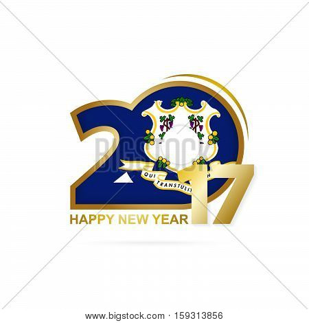 Year 2017 With Connecticut State Flag Pattern. Happy New Year Design On White Background.