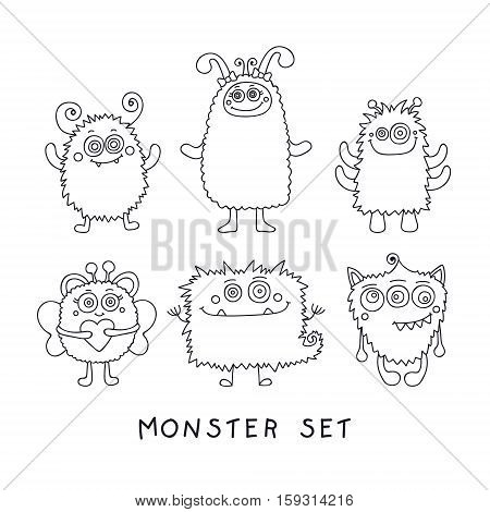 Doodle monster. Vector set of hand drawn doodle monster. Cute design for children. Isolated. On white background. Outline elements for coloring.