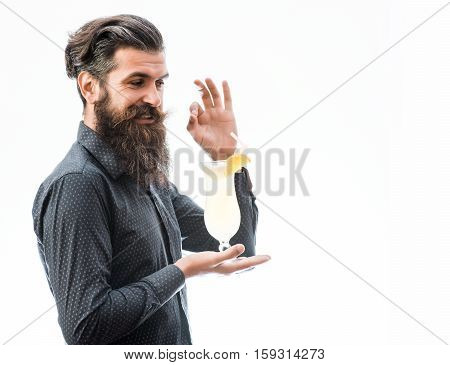 Bearded Man With Nonalcoholic Cocktail