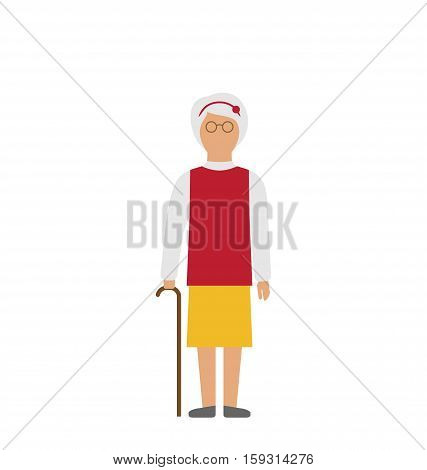 Illustration Old Woman Walking with Cane Isolated on White Background - Vector