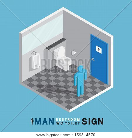 man toilet sign in restroom on gray tile floor isometric