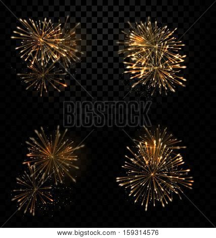 Illustration Festive Set Fireworks Salute on Transparent Background - Vector