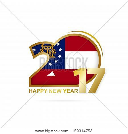 Year 2017 With Georgia State Flag Pattern. Happy New Year Design On White Background.
