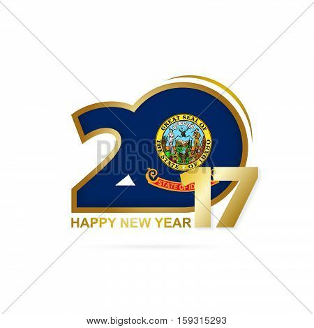 Year 2017 With Idaho State Flag Pattern. Happy New Year Design On White Background.
