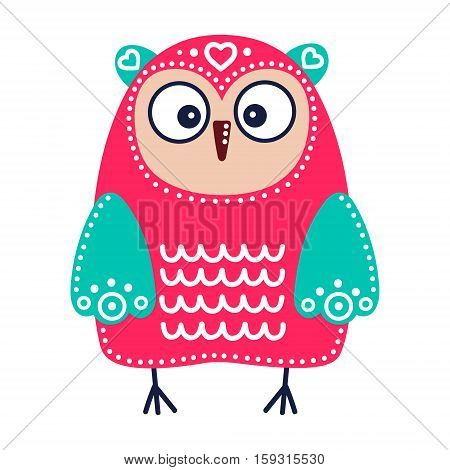 Cute red owl with green wings. Vector hand drawn flat bird with white ornament. Bright color owl for childish design. Isolated. On white background.