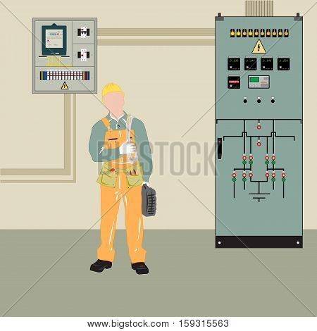 Electrician makes electrical equipment. Electrical panel and transformer, provides the supply.