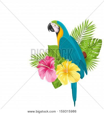 Illustration Parrot Ara, Colorful Exotic Flowers Blossom and Tropical Leaves, Isolated on White Background - Vector