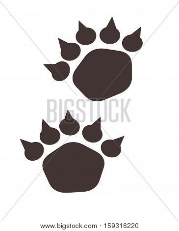 Illustration of bear footstep. Bear trace on a white background