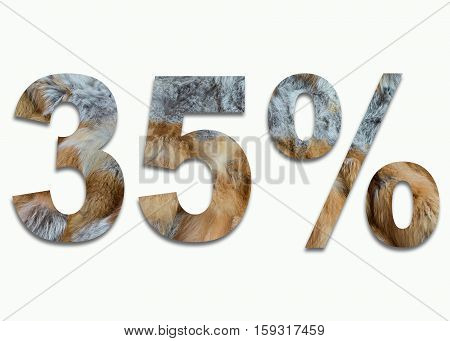 35% red fox fur in a font trained