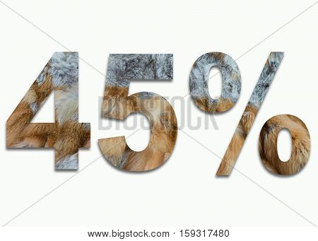 45% red fox fur in a font trained