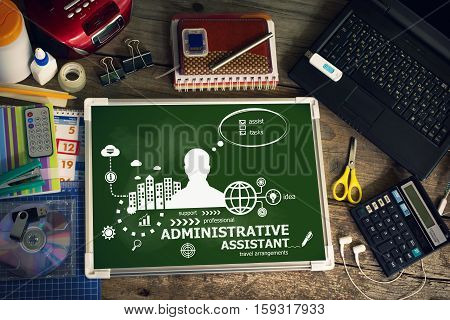 Administrative Assistant Design Concept For Business, Consulting, Finance, Management.