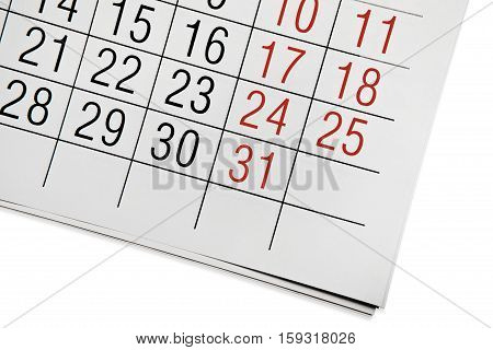 A fragment of the calendar of the end of December 2016