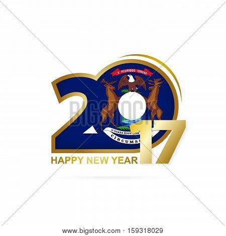 Year 2017 With Michigan State Flag Pattern. Happy New Year Design On White Background.