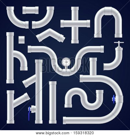 Plastic pipes realistic set on dark blue background isolated vector illustration