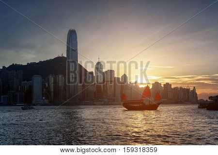 Scenic View Of The Hong Kong Island Skyline At Sunset