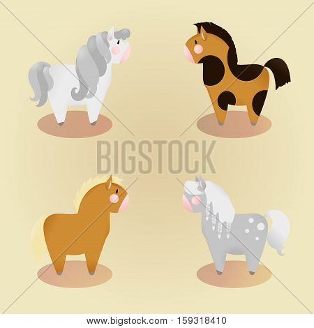 set of 4 little cute pony. Vector isolated illustration