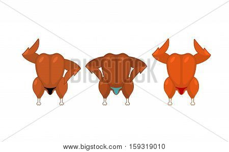 Fried Chicken Bodybuilder. Baked Turkey Fitness Model. Speech Athletes Cartoon Style. Fowl In Shorts
