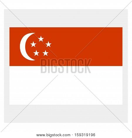 Flag of Singapore on a grey background