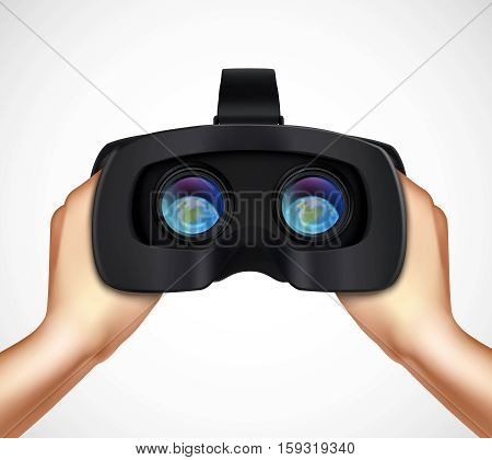 Hands holding virtual augmented reality headset for computer games simulators and training realistic closeup image vector illustration