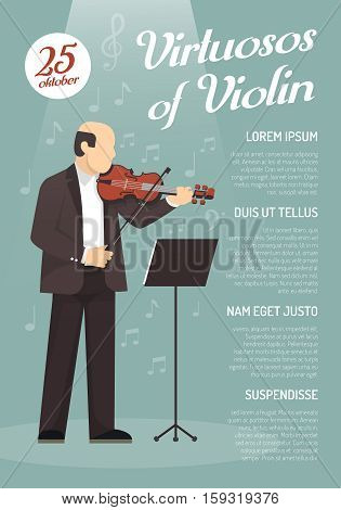 Music advertising poster with virtuoso of violin image and information about concert date flat vector illustration