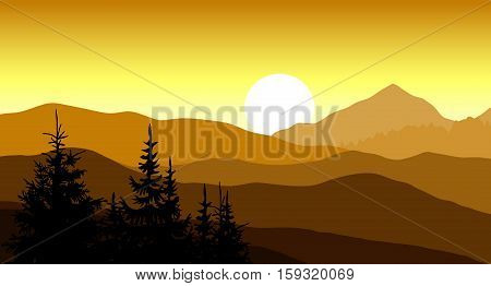 Golden sunset in the mountains. Vector illustration.