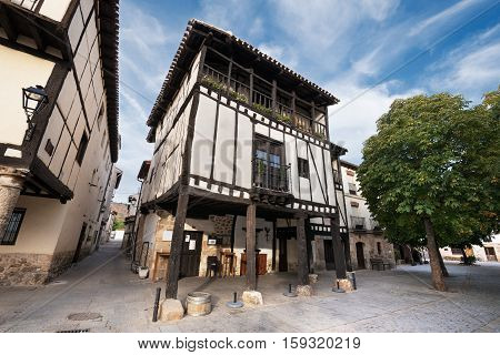 Ancient medieval buildings in the ancient city of Covarrubias Burgos Spain