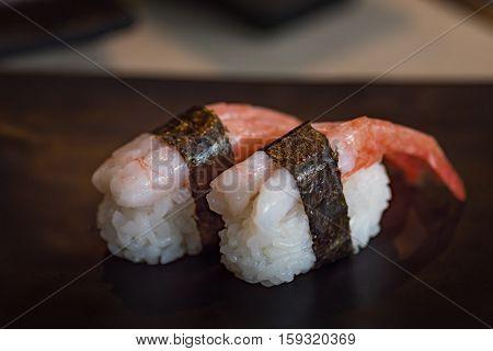 Close up of delicious japanese food call nigiri sushi made from sweet shrimp seaweed and japanese rice in local sushi food kanazawa japan.