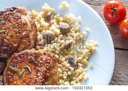 Spicy Chicken With Bulgur And Mushrooms