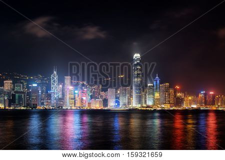 Night View Of Skyscrapers On Waterfront, Hong Kong