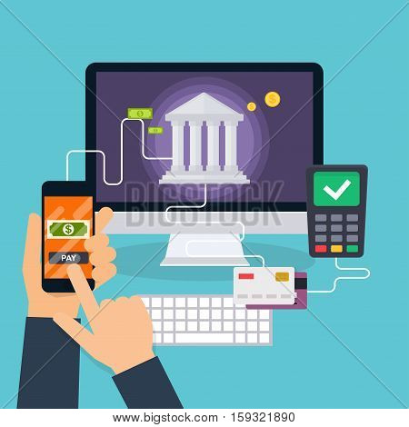 Flat design vector illustration concepts of online payment methods. Internet banking purchasing and transaction electronic funds transfers and bank wire transfer.