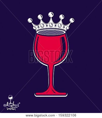 Stylish Luxury Wineglass With Imperial Crown Isolated On Dark Background. Holiday And Celebration Th