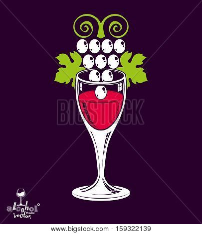 Winery Theme Vector Illustration. Stylized Wineglass With Grapes Vine, Racemation Symbol Best For Us