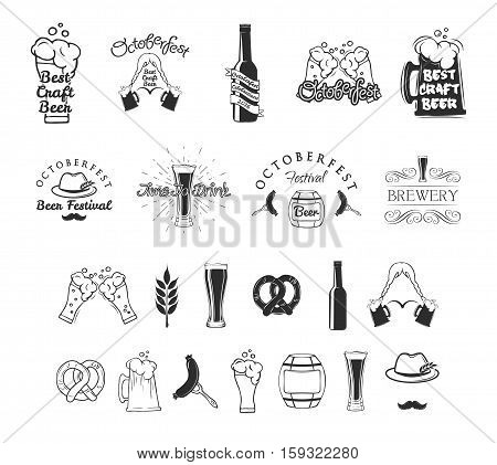 Beer festival Octoberfest celebrations retro style labels, badges and logos set with beer mug. Brewery Bovaria. Vector illustration.