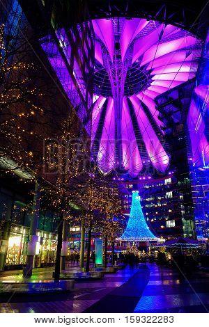 Sony Center at Potsdamer Platz during Christmas time. Berlin Germany - 29.11.2016.