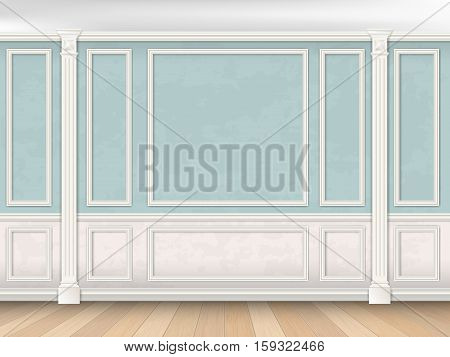 Blue wall interior in classical style with pilasters moldings and white panel. Architectural background.