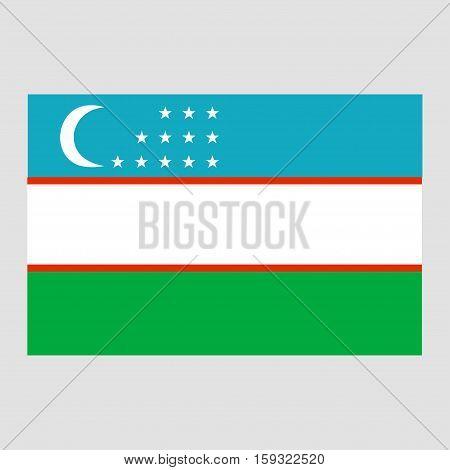 Flag of Uzbekistan on a grey background