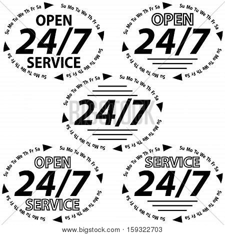 set logo service 24 hours 7 days a week, service is open around the clock including weekends and holidays, the sticker for the shop or website, vecto