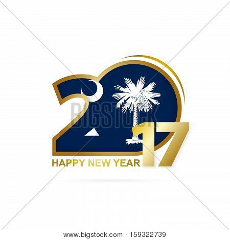 Year 2017 With South Carolina State Flag Pattern. Happy New Year Design On White Background.