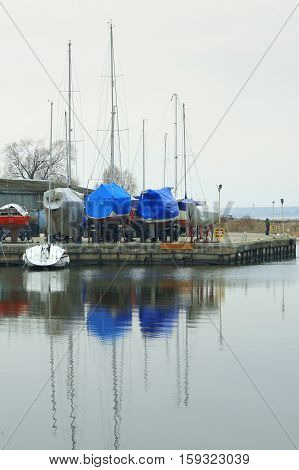 Boat, Winter, Dock, Storage, Boat, Anchor, Stand