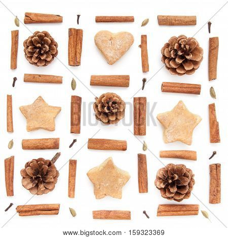 Pine cone, cinnamon, cookies christmas square set on white background