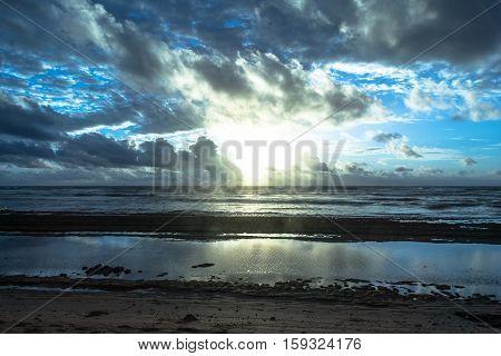 View of the sunrise on the ocean in Lihue, Kauai, Hawaii