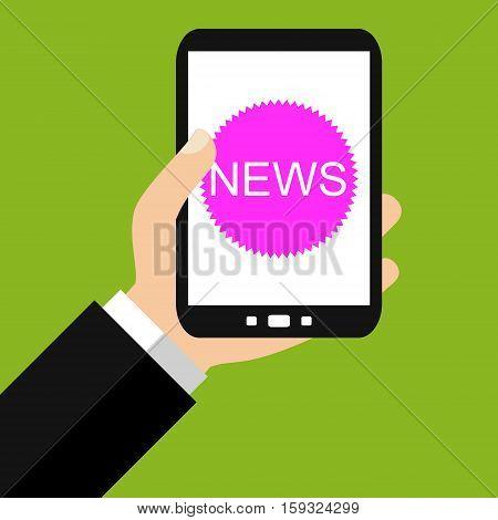 Hand holding Smartphone: News - Flat Design