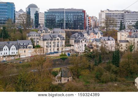 Cityscape of Luxembourg City (UNESCO World Heritage): old town part with the downtown in the background. Luxembourg City, Luxembourg (Grand Duchy of Luxembourg) - April 3 2016.
