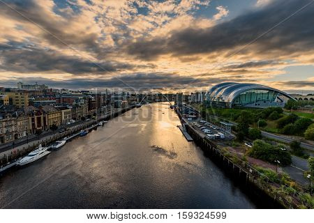 Newcastle upon Tyne is a university city on the River Tyne in northeast England.