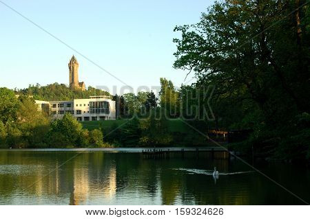 Wallace Monument and Airthrey Loch, Scotland. Taken from Stirling University Campus.