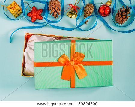 Opening Christmas Gift Box Flat Lay