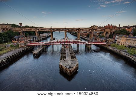 The Swing Bridge is a swing bridge over the River Tyne England connecting Newcastle upon Tyne and Gateshead
